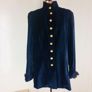 Soft Surroundings Jackets & Coats - Soft Surroundings Navy Velvet Jacket